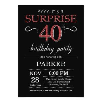 Surprise 40th Birthday Invitation Black and Red