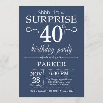 Surprise 40th Birthday Invitation Blue