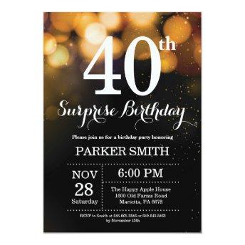 Surprise 40th Birthday Invitation Gold Glitter