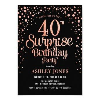 Surprise 40th Birthday Party - Black & Rose Gold Invitation