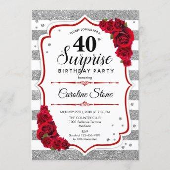 Surprise 40th Birthday - Silver White Red Invitation