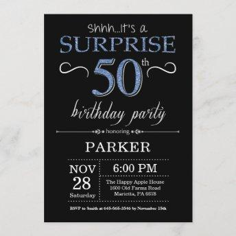 Surprise 50th Birthday Invitation Black and Blue