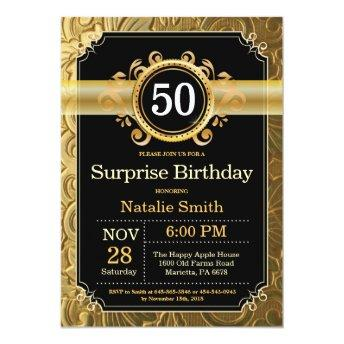 Surprise 50th Birthday Invitation Black and Gold