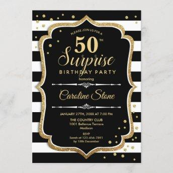 Surprise 50th Birthday Invitation Black White Gold