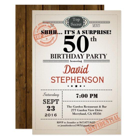 190 Surprise 50th Birthday Party Invitation For Men
