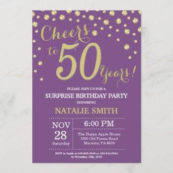 Surprise 50th Birthday Purple and Gold Diamond Invitation