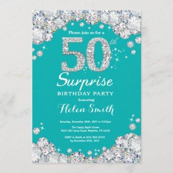 Surprise 50th Birthday Teal and Silver Diamond Invitation