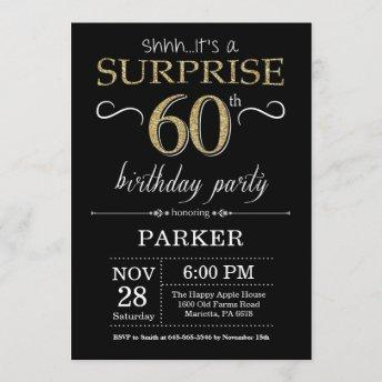 Surprise 60th Birthday Invitation Black and Gold