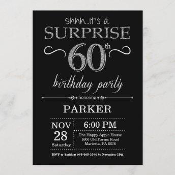 Surprise 60th Birthday Invitation Black and Silver