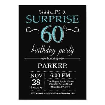 Surprise 60th Birthday Invitation Black and Teal