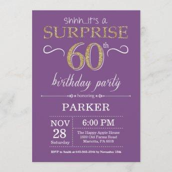 Surprise 60th Birthday Invitation Purple and Gold
