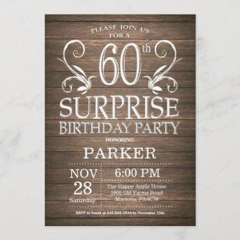 Surprise 60th Birthday Invitation Rustic Wood