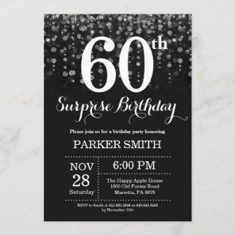Surprise 60th Birthday Invitation Silver Glitter