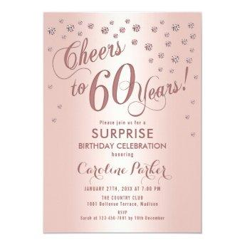 Surprise 60th Birthday Party - Rose Gold Invitation