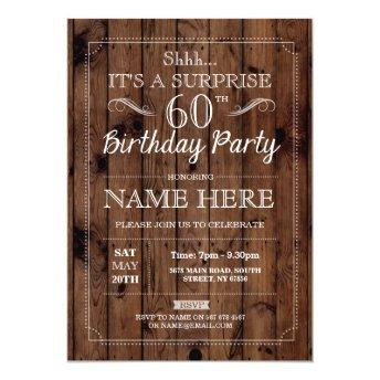 SURPRISE 60th Birthday Party Rustic Wood 60 Invite