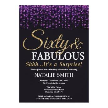 Surprise 60th Birthday Purple and Gold Glitter Invitation