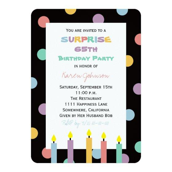 226 Surprise 65th Birthday Party Pretty Candles Invitation
