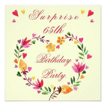 Surprise 65th Birthday Watercolor Floral Heart