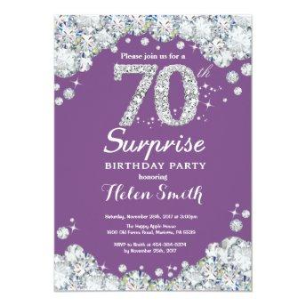 Surprise 70th Birthday Purple and Silver Diamond Invitation