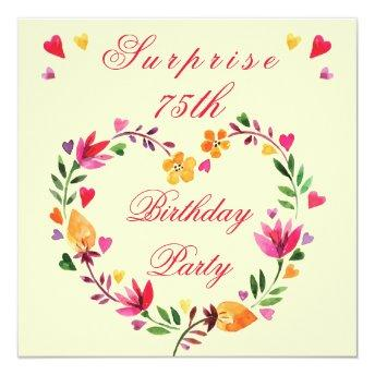 Surprise 75th Birthday Watercolor Floral Heart
