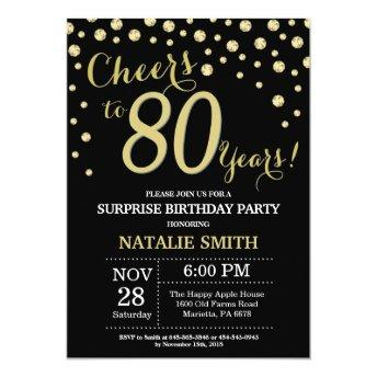 Surprise 80th Birthday Black and Gold Diamond Invitation