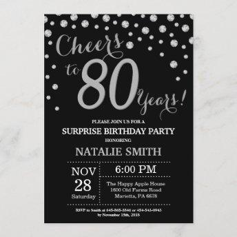 Surprise 80th Birthday Black and Silver Diamond Invitation