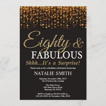 Surprise 80th Birthday Eighty and Fabulous Gold Invitation