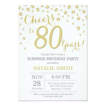 Surprise 80th Birthday Gold Glitter Diamond Invitation