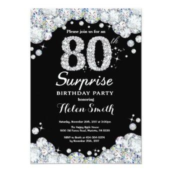 Surprise 80th Birthday Invitation Silver Diamond