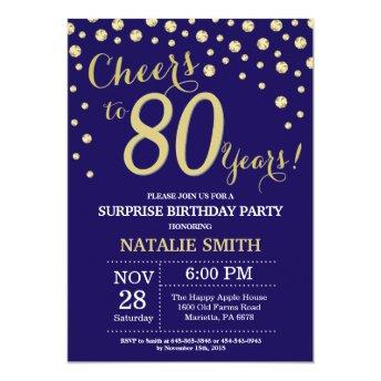 Surprise 80th Birthday Navy Blue and Gold Diamond Invitation