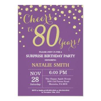 Surprise 80th Birthday Purple and Gold Diamond Invitation
