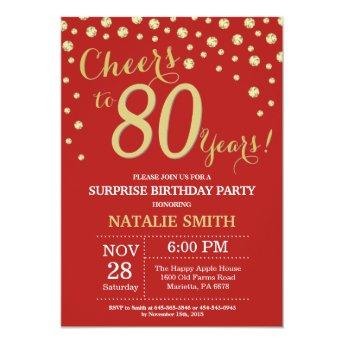 Surprise 80th Birthday Red and Gold Diamond Invitation