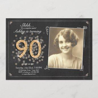Surprise 90th birthday invite Chalkboard vintage