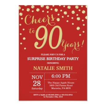 Surprise 90th Birthday Red and Gold Diamond Invitation