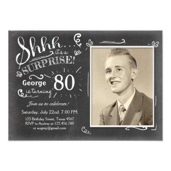 Surprise birthday invitation 80 Chalkboard Rustic