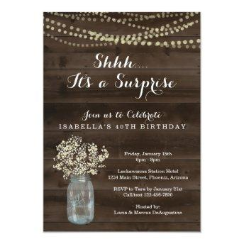 Surprise Birthday Party Invitation - Rustic Wood