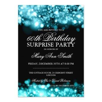 Surprise Birthday Party Turquoise Sparkling Lights