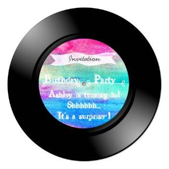 Surprise Birthday Party Watercolor Vinyl Record