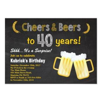 Surprise Cheers and Beers 40th Birthday Invitation