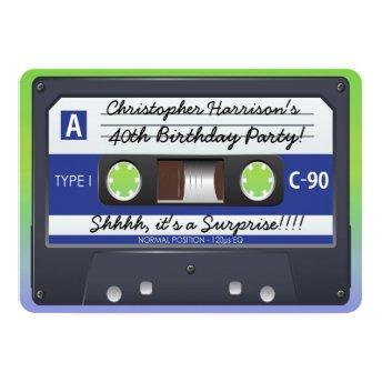 Surprise Party Retro 80s Cassette Tape Invitation