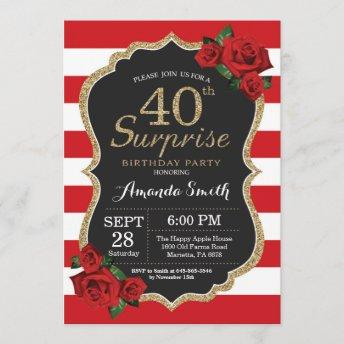 Surprise Red Rose 40th Birthday Invitation Gold