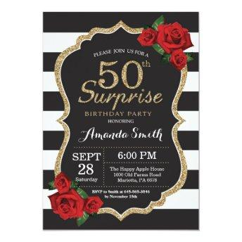 Surprise Red Rose 50th Birthday Invitation Gold