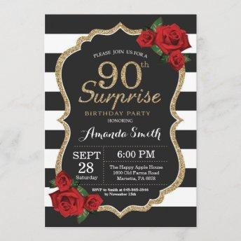 Surprise Red Rose 90th Birthday Invitation Gold