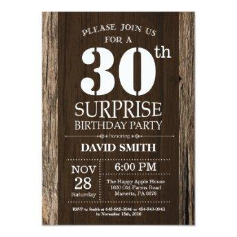 Surprise Rustic 30th Birthday Invitation Vintage