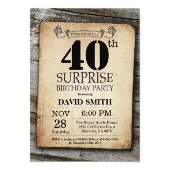 Surprise Rustic 40th Birthday Invitation Vintage