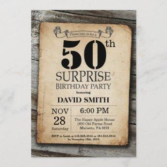 Surprise Rustic 50th Birthday Invitation Vintage