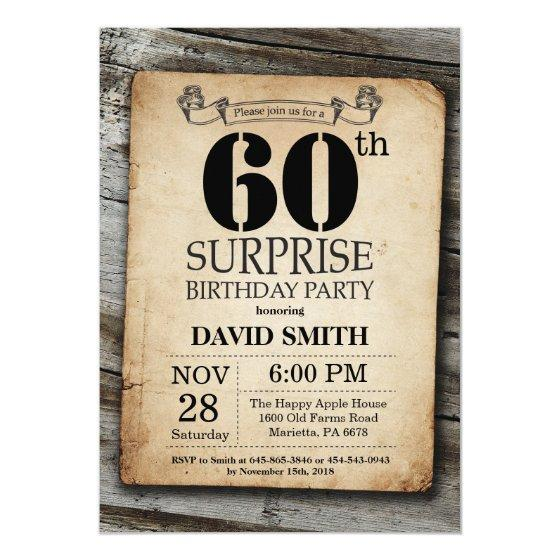 Surprise Rustic 60th Birthday Invitation Vintage Birthday Party