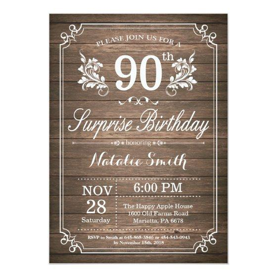 190 Surprise Rustic 90th Birthday Invitation Floral