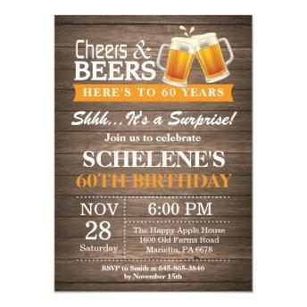 Surprise Rustic Cheers and Beers 60th Birthday Invitation