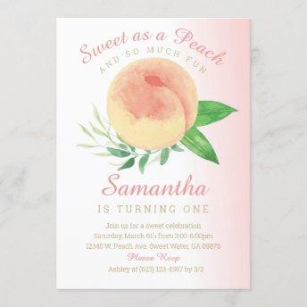 Sweat as a Peach Birthday Invitation